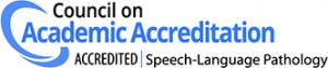 Council on Academic Accreditation logo showing accreditation in Speech-Language Pathology