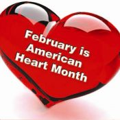 """Red heart, with words """"February is American Heart Month"""" in it"""