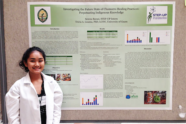 Student Posing with her Research Poster